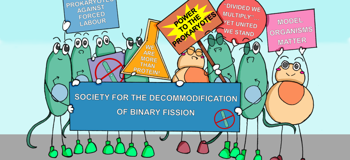 Biochemistry Cartoon Series: Bacteria and their eukaryotic buddies protesting against forced labour in the lab!